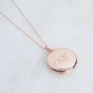 Exclusive 14k Rose Gold Vermeil Engraved Initial Locket - necklaces & pendants