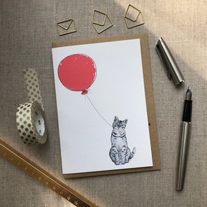 Personalised Cat And Balloon Birthday Card