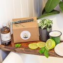 Bath Oil And Candle Gift Set: Lime And Peppermint