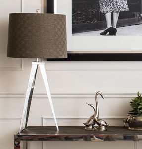 Clifton Chrome Lamp With Dark Brown Shade