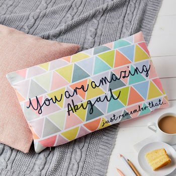 Geometric Pastel You Are Amazing Personalised Cushion