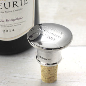 Personalised Silver Bottle Stopper - 25th anniversary: silver
