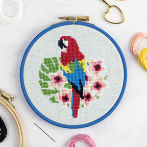 Macaw Parrot Cross Stitch Kit - creative kits & experiences