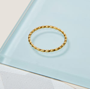 9ct Gold Skinny Twisted Stacking Ring - rings