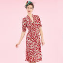 1940s Style Party Dress In Ruby Stork Print Crepe