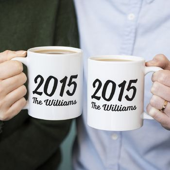 Couples Personalised Surname And Year Mug Set
