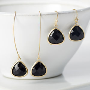 Gold Onyx Faceted Glass Earrings