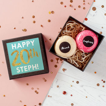 Personalised Birthday Bath Bomb Macarons In Gift Box