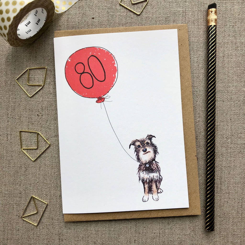 Personalised 80th Birthday Card Dog Design