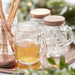 Mini Mason Rose Gold Wedding Favor Jars - kitchen