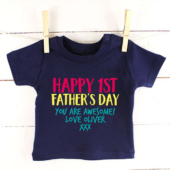 Multicoloured Happy 1st Fathers Day Kids Top / Babygrow