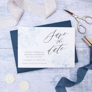 Refined Blue Floral Wedding Save The Date - new in wedding styling