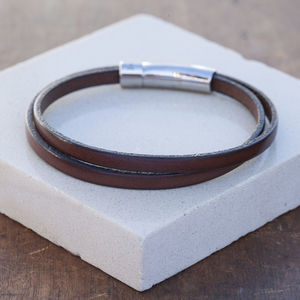 Brown Mens Wrap Twist Leather Bracelet
