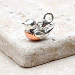 Sterling Silver And Rose Gold Robin Red Breast Charm - charm jewellery