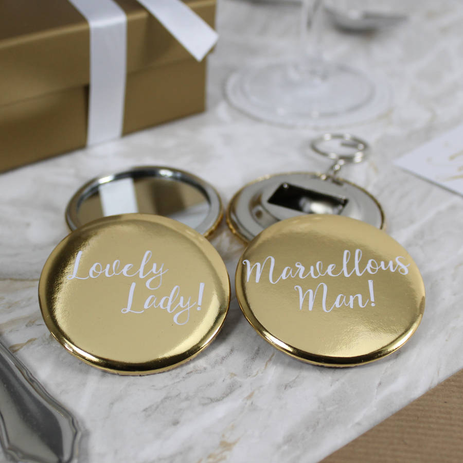 Gold Mirror And Bottle Opener Wedding Favours By Wit