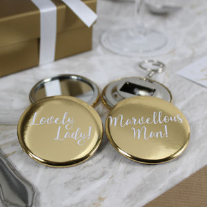 Gold Mirror And Bottle Opener Wedding Favours