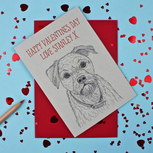 Border Terrier Valentines Day Card - personalised cards