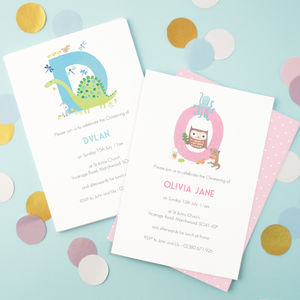 Personalised Alphabet Christening Invitations - invitations