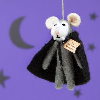 Personalised Felt Vampire Mouse Hanging Decoration
