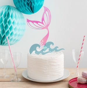 Iridescent Mermaid Tail And Waves Party Cake Topper Set - decoration