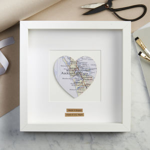 Personalised Single Heart Map Picture - gifts for couples
