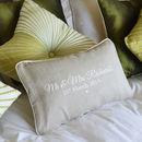 Personalised Linen Wedding Cushion