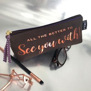 Chocolate And Metallic 'Starlight' Text Slim Case - glasses cases