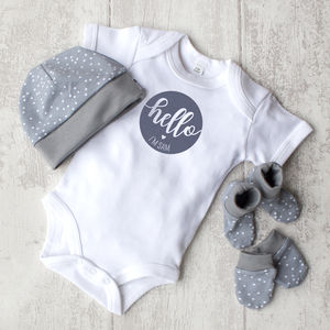 Personalised 'Hello' Baby Gift Set