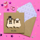 Mr And Mrs Wedding Pugs Personalised Card