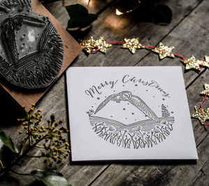 Christmas Card Stamp With Owl