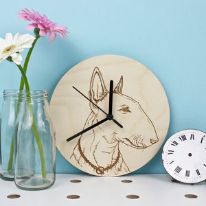 Bull Terrier Portrait Wall Clock - clocks
