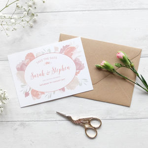 'Pink Rose' Save The Date Cards - save the date cards