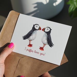 Puffin Love Romantic Valentine's Or Anniversary Card