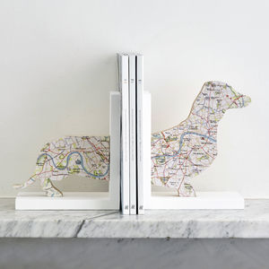 Map Location Sausage Dog Bookends - living room