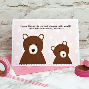 'Mummy Bear' Personalised Birthday Card