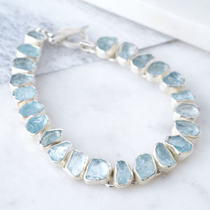 Aquamarine Gemstone Bracelet Birthstone For March