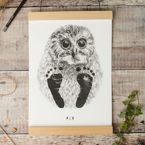 Personalised Baby Owl Footprint Kit - art