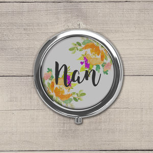 Personalised Orange Floral Pill Box
