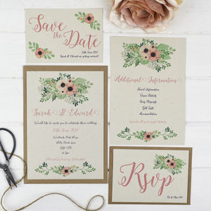 Coral Flowers Wedding Stationery Set - save the date cards