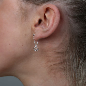 Sterling Silver Crystal Cube On Chain Ear Studs