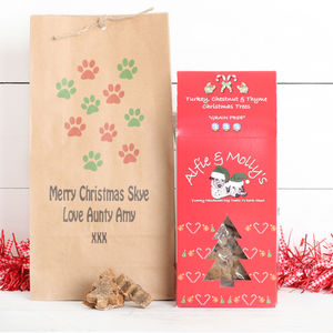 Dog Treats In A Personalised Gift Bag, Four Flavours - dogs