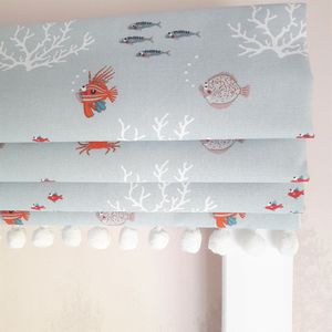 Little Fish Blackout Roman Blind - living room