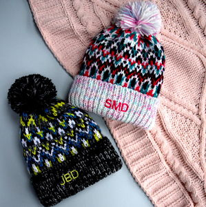 Personalised Knitted Ski Snow Hat - hats, scarves & gloves