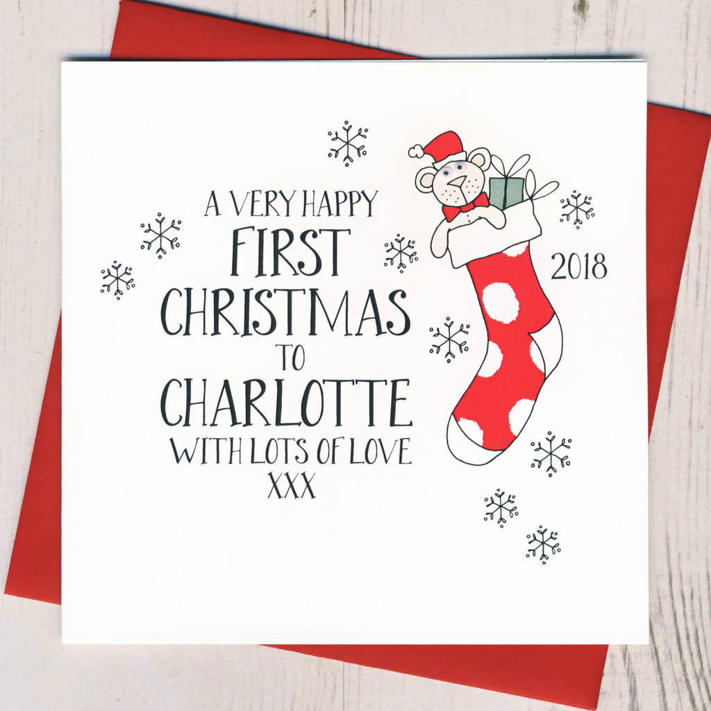 Personalised Wobbly Eyes Baby's First Christmas Card By