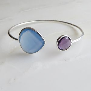 Blue Chalcedony And Amethyst Silver Bangle