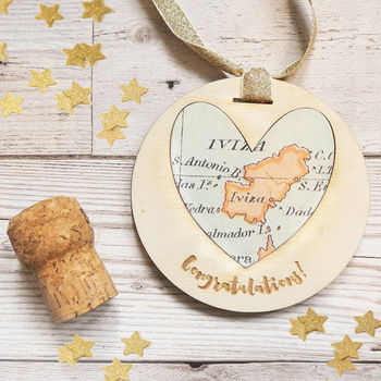 Personalised 'Congratulations' Map Keepsake Decoration