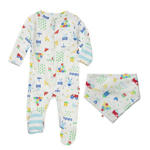 Baby Sleepsuit And Bandana Bib Farm Gift Set
