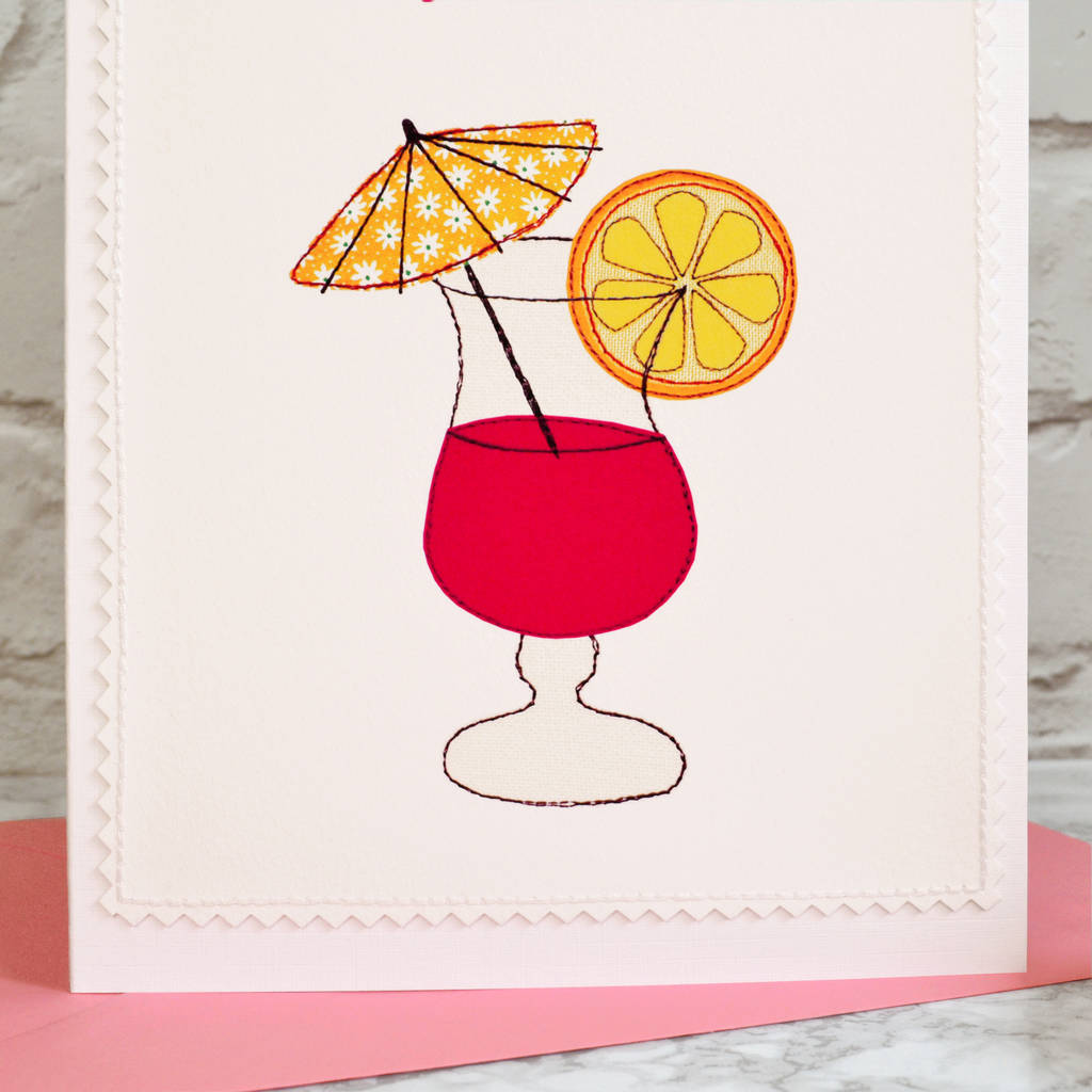 'cocktail' Personalised Handmade Birthday Card By Jenny