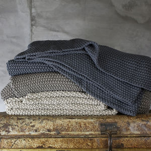 Hand Knitted Moss Stitch Throw - the hibernation collection