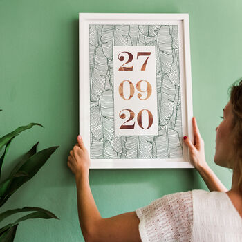 Modern Botanical Anniversary Marriage Date Print